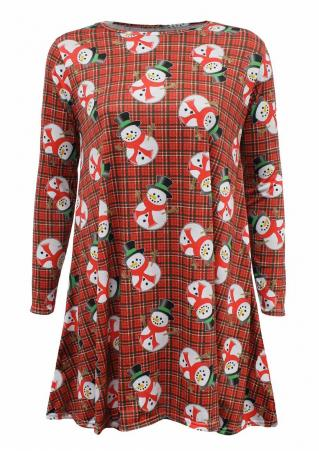 Christmas Snowman Plaid Mini Dress