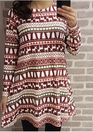 Christmas Aztec Swing Mini Dress Christmas
