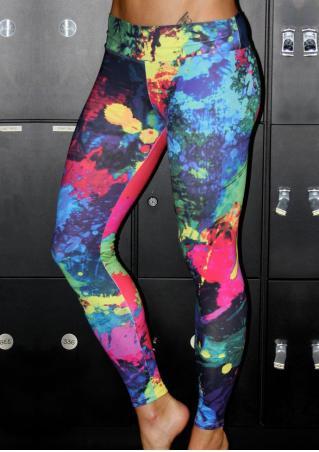 Multicolor Printed Yoga Stretchy Skinny Leggings