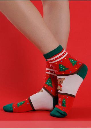 Christmas Snowflake Santa Snowman Socks
