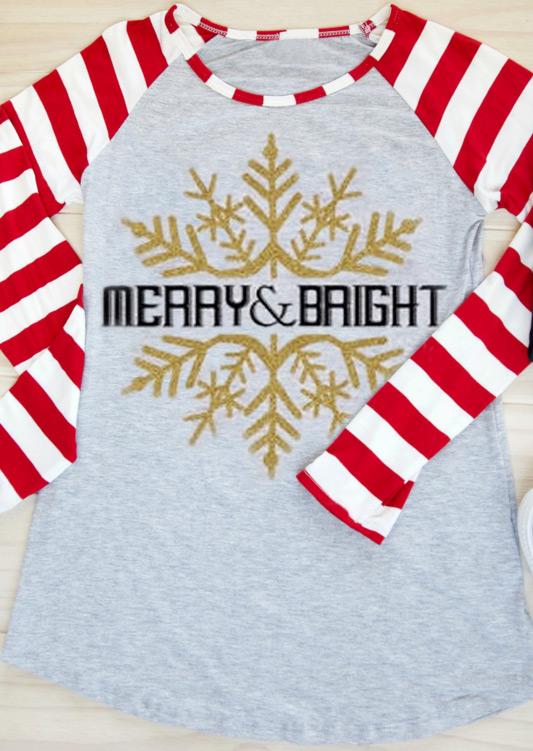 33f8f322d Christmas Snowflake Merry & Bright Baseball T-Shirt - Fairyseason