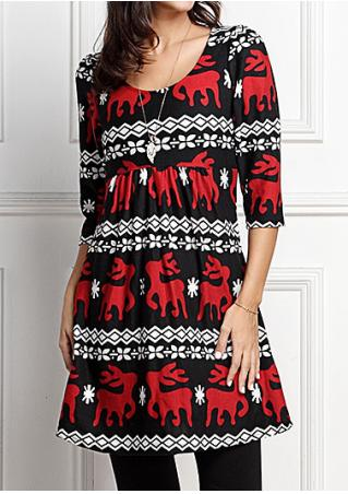 Christmas Reindeer Mini Dress without Necklace