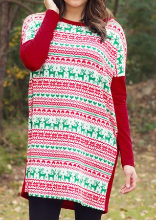 Christmas Reindeer Colorful Block & Batwing Sleeve Mini Dress
