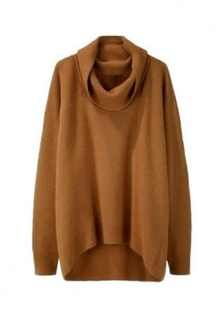 Solid Asymmetric Turtleneck Casual Sweater
