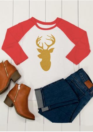 Christmas Reindeer Baseball T-Shirt