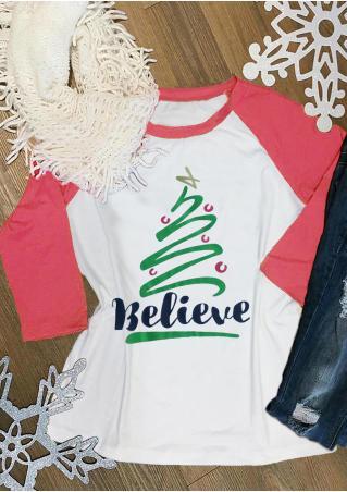Believe & Christmas Tree Baseball T-Shirt Believe
