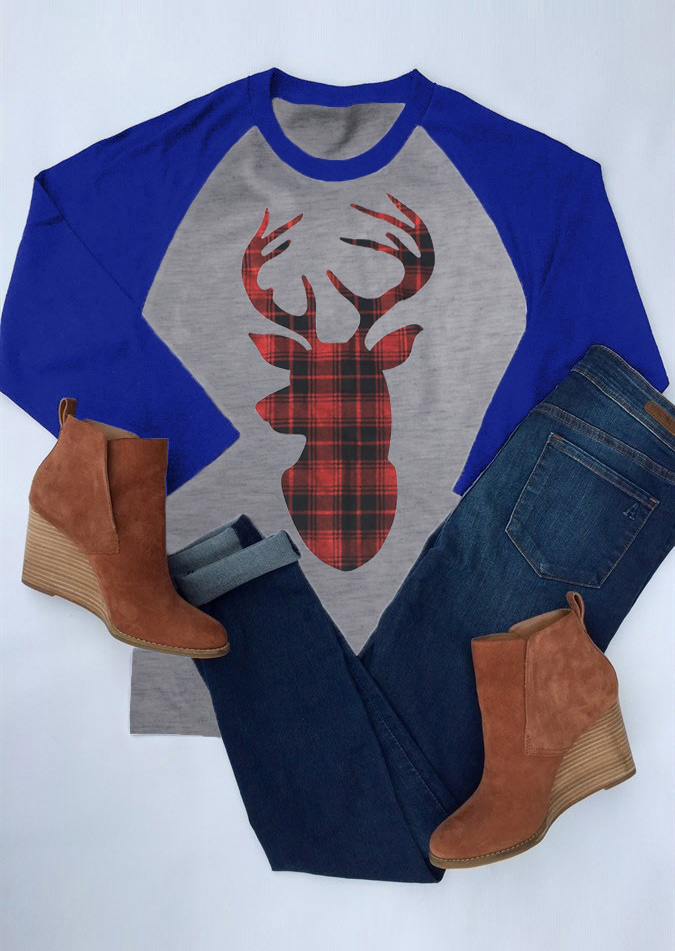 cc07ee029 Christmas Plaid Reindeer Baseball T-Shirt - Fairyseason