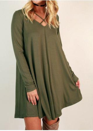 Solid Hollow Out Dress without Necklace