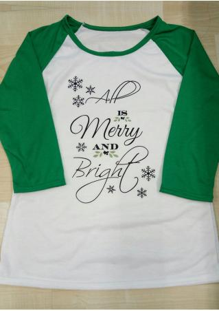 Christmas Snowflake All is Merry and Bright Baseball T-Shirt