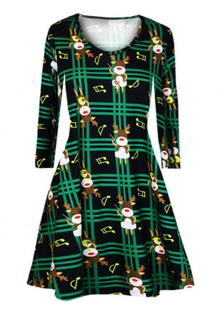 Christmas Reindeer Plaid Mini Dress