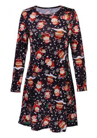 Christmas Santa Claus Snowflake Mini Dress