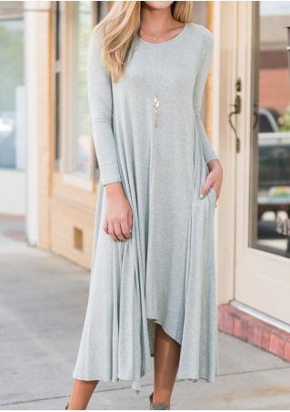 Solid Asymmetric Pocket Dress without Necklace
