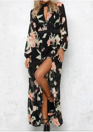 Floral Hollow Out Slit Dress