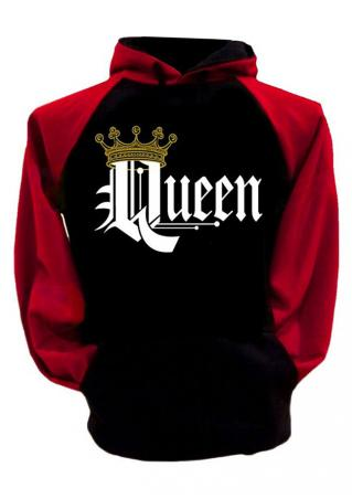 Queen Crown Drawstring Pocket Hoodie