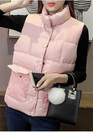 Solid Pocket Button Sleeveless Jacket