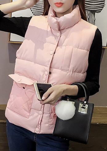 Jachetă de damă, fashion, fără mâneci, cu buzunare frontale
