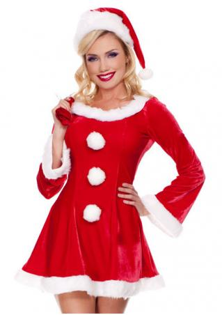 Christmas Pompon Color Block Dress with Hat and Bag