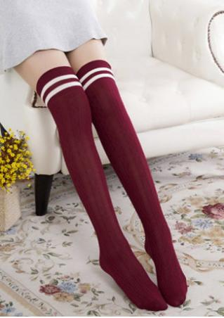 Solid Thigh-High Knitted Stretchy Skinny Socks