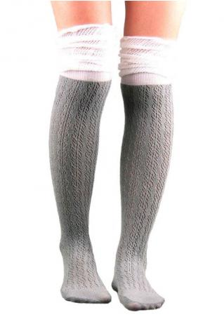 Color Block Thigh-High Knitted Socks