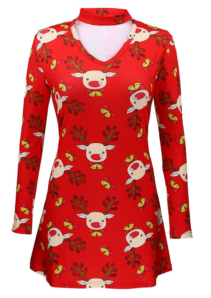 Christmas reindeer mini dress with choker detail fairyseason
