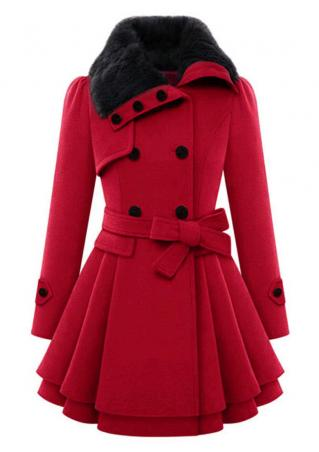 Solid Fur Collar Coat with Belt