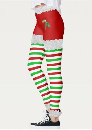 Christmas Mistletoe Stretchy Skinny Leggings