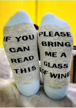 Please Bring Me a Glass of Wine Striped Socks