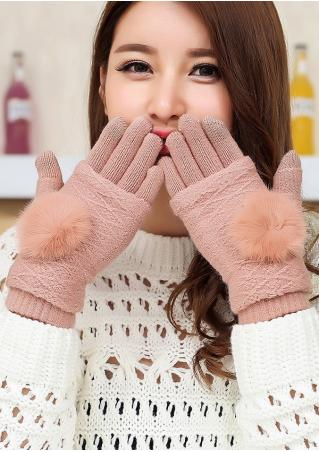 Pompon Double-Use Knitted Gloves