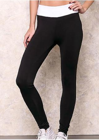 Color Block Skinny Casual Sport Leggings
