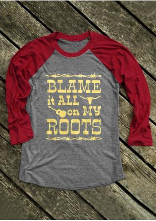 Blame It All on My Roots Guitar Baseball T-Shirt Blame