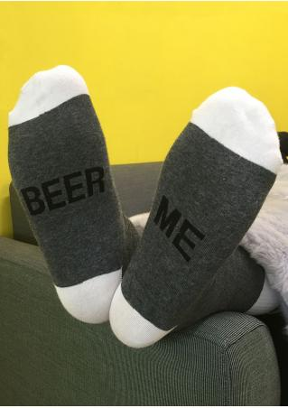 Beer Me Contrast Color Socks