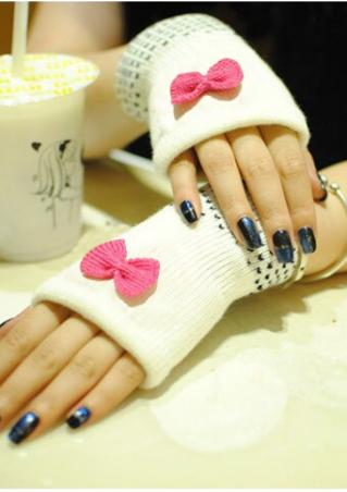 Bowknot Fingerless Knitted Gloves