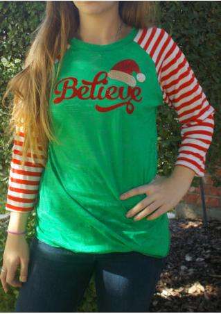Christmas Hat Believe Striped Sleeve Baseball T-Shirt Christmas