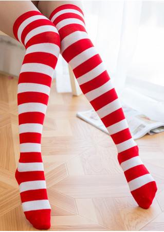 Striped Thigh-High Warm Socks