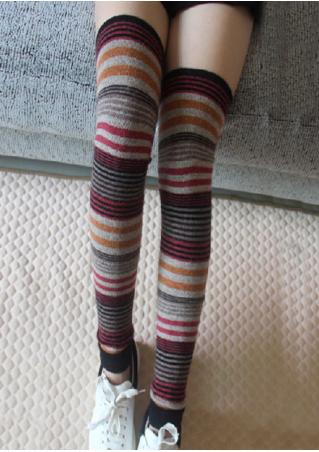 Multicolor Striped Thigh-High Socks
