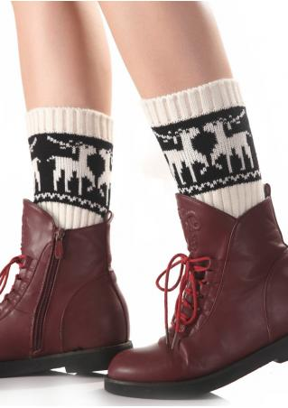 Christmas Reindeer Knit Socks Christmas