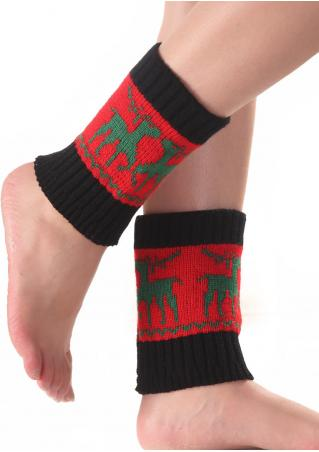 Christmas Reindeer Color Block Knit Socks Christmas