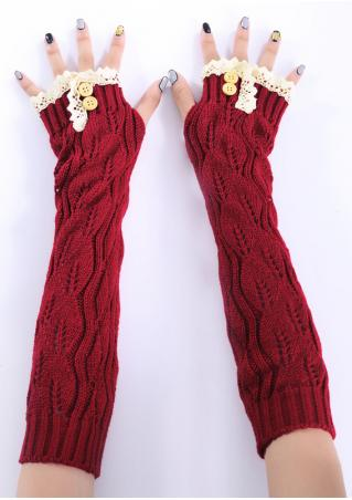 Lace Splicing Knitted Button Gloves