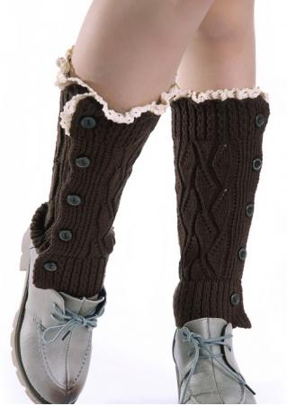 Lace Splicing Knitted Button Socks