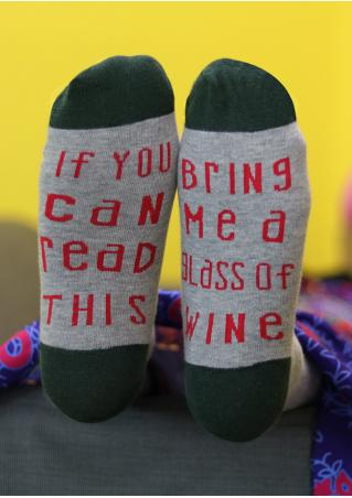 Bring Me a Glass of Wine Color Block Socks