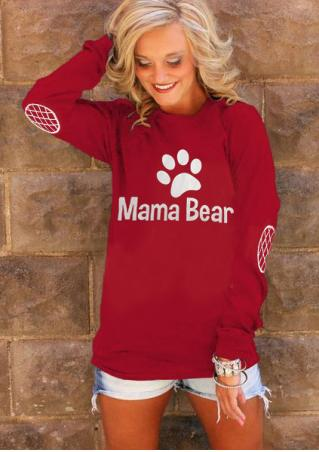 Mama Bear Paw Elbow Patch Printed T-Shirt
