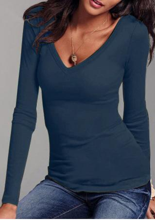 Solid V-Neck T-Shirt without Necklace