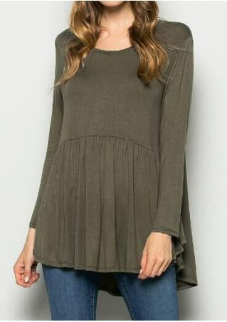 Solid Asymmetric Ruffled  Blouse