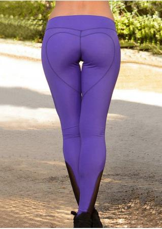 Mesh splicing Heart Stretchy Skinny Leggings