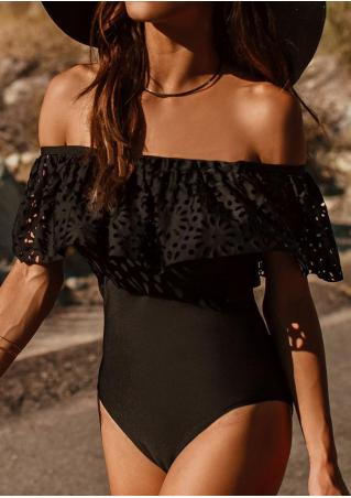 Solid Off Shoulder Hollow Out Swimsuit without Necklace
