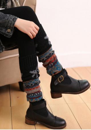 Christmas Reindeer & Snowflake Knitted Boots Socks