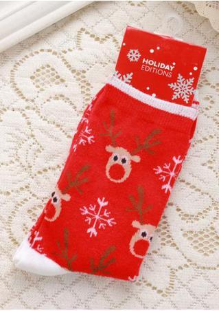 Christmas Reindeer & Snowflake Socks Christmas