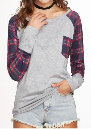 Plaid Pocket Baseball T-Shirt without Necklace
