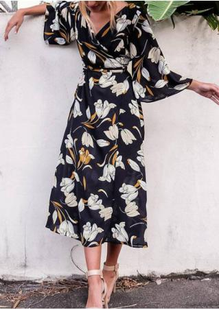 Floral Hollow out Dress with Belt