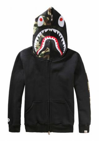 Camouflage Shark Zipper Casual Hoodie
